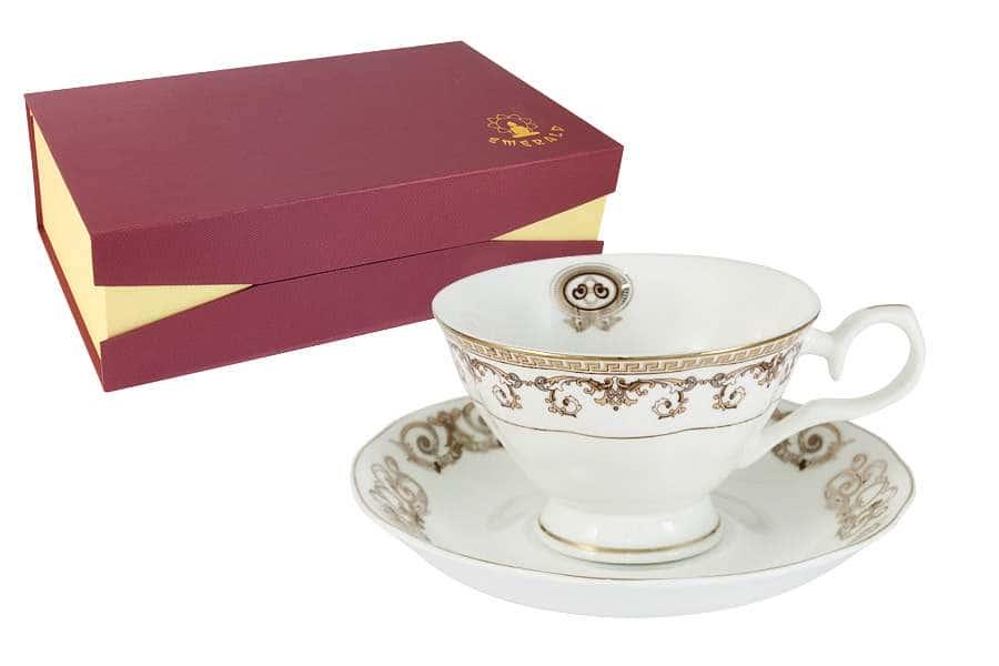 Набор 12 предметов: 6 чашек + 6 блюдец Версаче Золотой