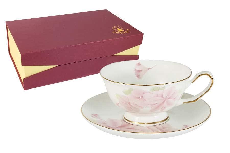Набор 12 предметов: 6 чашек + 6 блюдец Розовые цветы