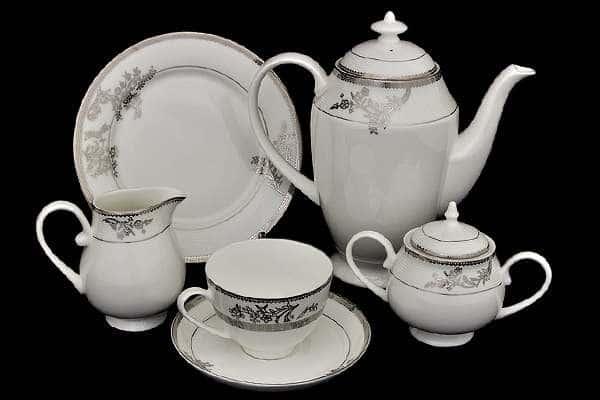 Чайный сервиз Серебряные узоры 21 предмет на 6 персон