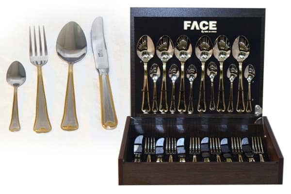Набор столовых приборов 24 предмета на 6 персон Falperra Gold в деревянной коробке.