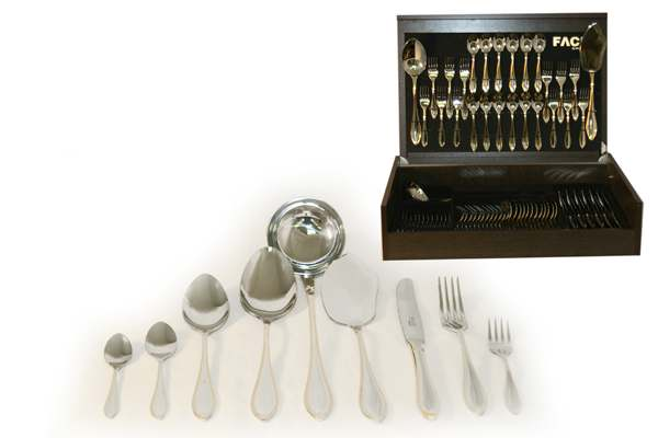 Набор столовых приборов 75 предметов на 12 персон Geneva в деревянной коробке.