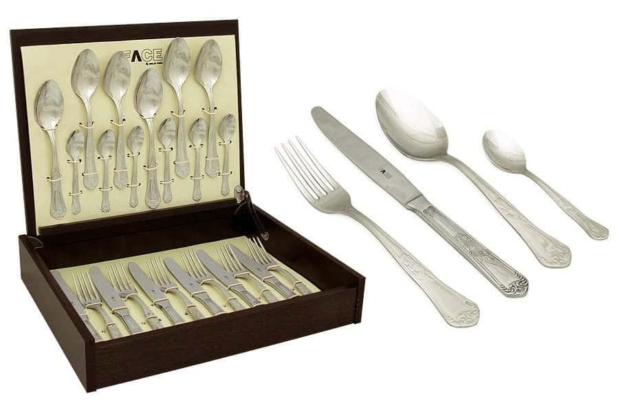 Набор столовых приборов 24 предмета на 6 персон Queen в деревянной коробке.