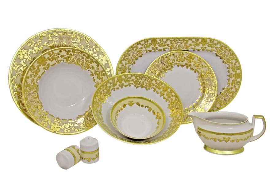 Обеденный сервиз Версаль (кремовый с золотом) 25 предметов на 6 персон