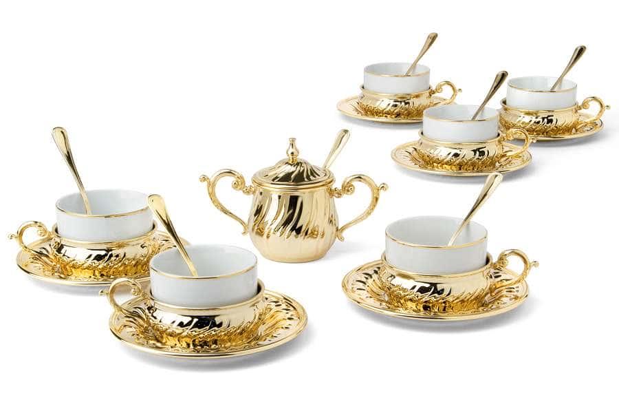 Чайный набор на 6 персон Stradivari с отделкой под золото в подарочной коробке