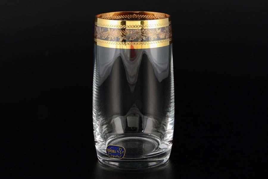 Идеал Золотой листок Кристалекс Набор стаканов для воды Crystalite 380 мл