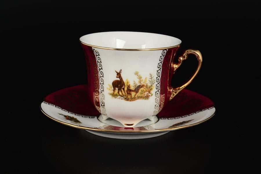 Охота Красная Барокко Набор чайных пар Royal Porcelain