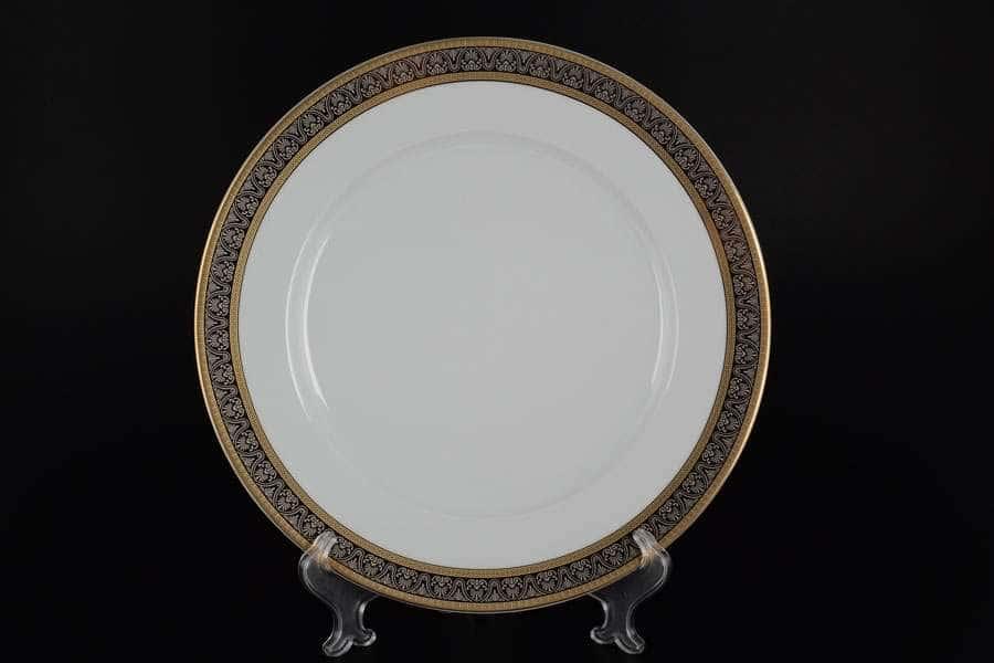 Блюдо круглое 30 см Опал Широкий кант платина золото Thun
