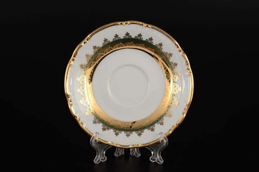 Блюдце кофейное Констанция Изумруд Золотой орнамент Thun