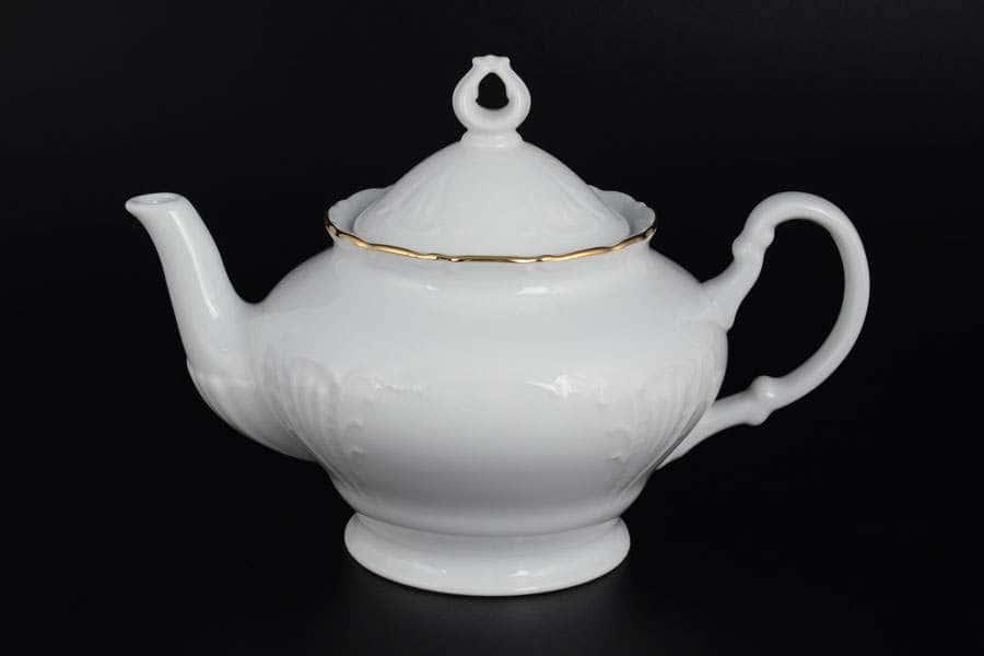 Лиана Белый узор Чайник из фарфора MZ 1,2 л