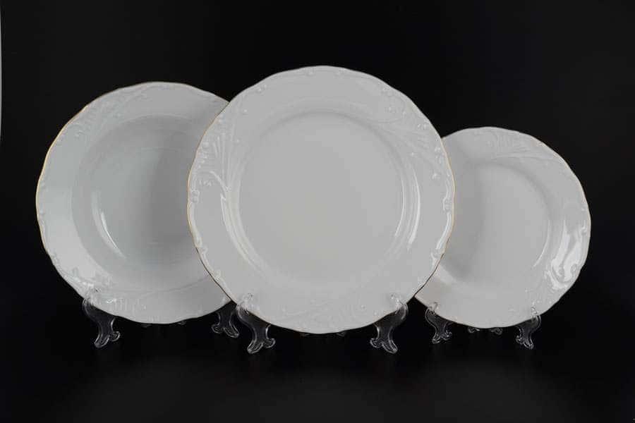 Лиана Белый узор Набор тарелок MZ 18 предметов