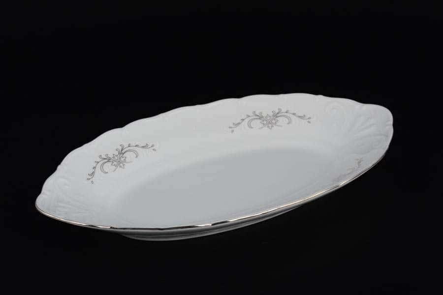 Блюдо овальное 26 см Лиана Серый орнамент отводка платина MZ