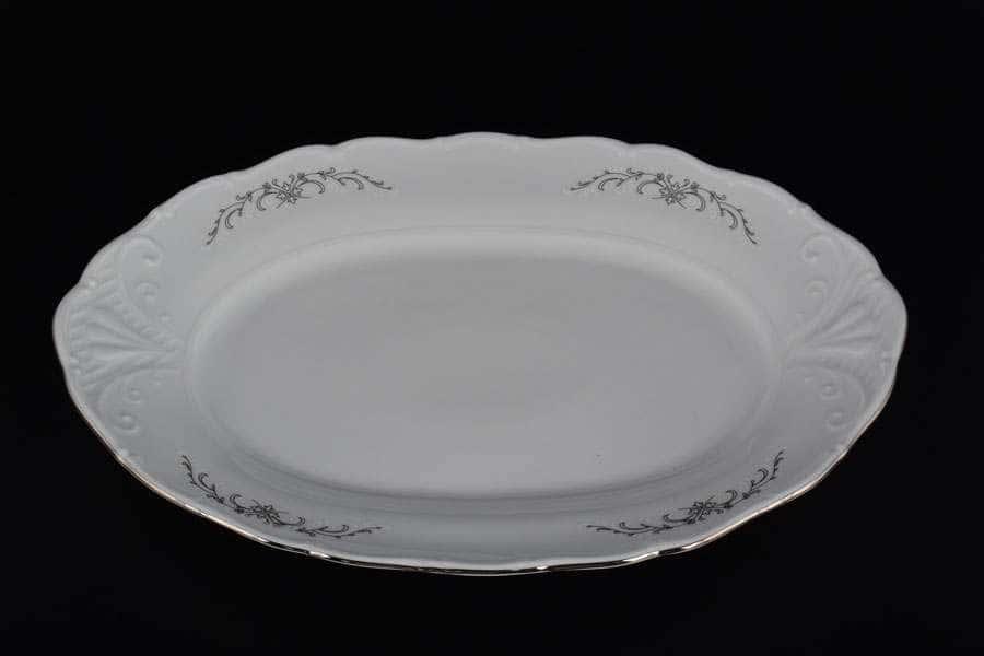 Блюдо овальное 32 см Лиана Серый орнамент отводка платина MZ