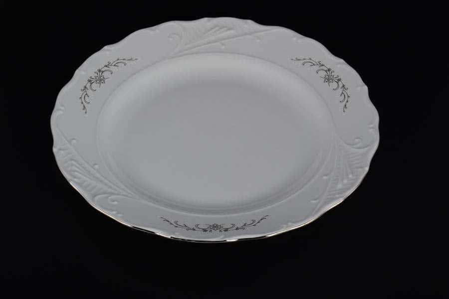 Блюдо круглое 30 см Лиана Серый орнамент отводка платина MZ