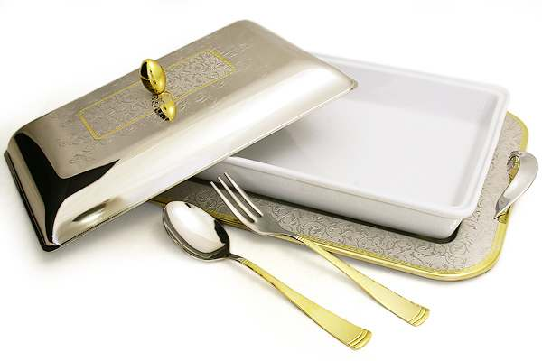 Блюдо для горячего с крышкой на подносе с ложкой и вилкой Dubai Gold/Silver