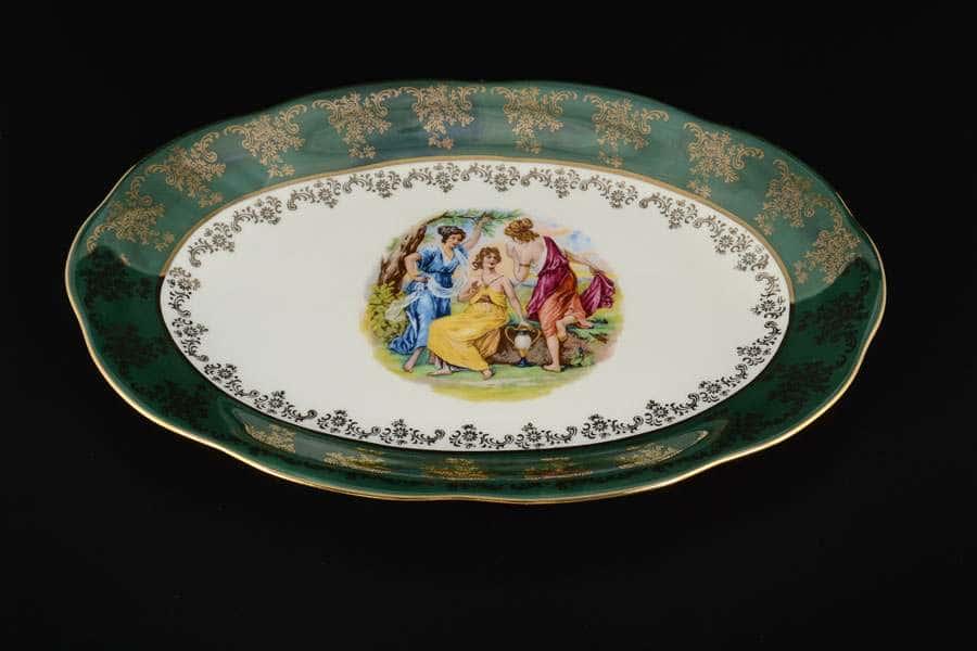 Блюдо овальное 32 Зеленая Мадонна AL Royal Porcelain