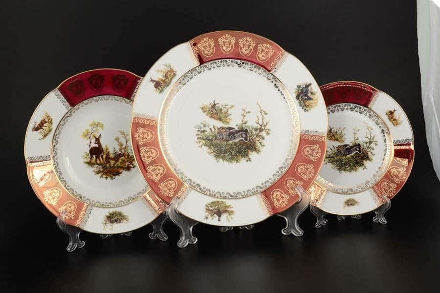 Болеро Охота Красная Набор тарелок Royal Porcelain  18 предметов