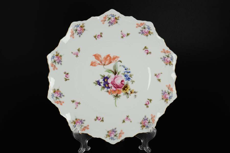 Полевой цветок Корона Тарелка для торта QC 28 см с лопаткой