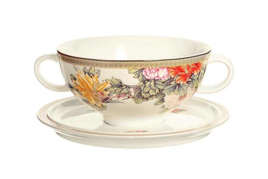 Суповая чашка на блюдце Японский сад