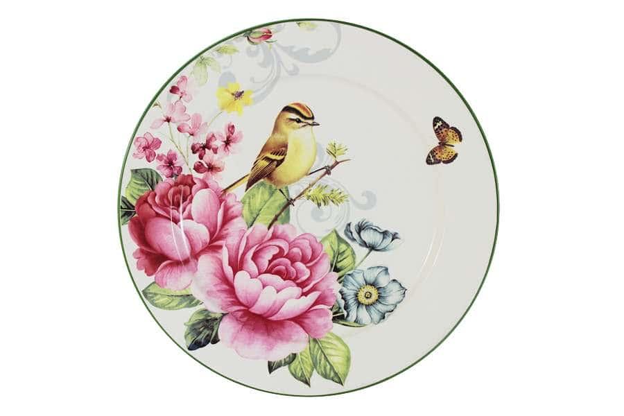 Тарелка обеденная Цветы и птицы