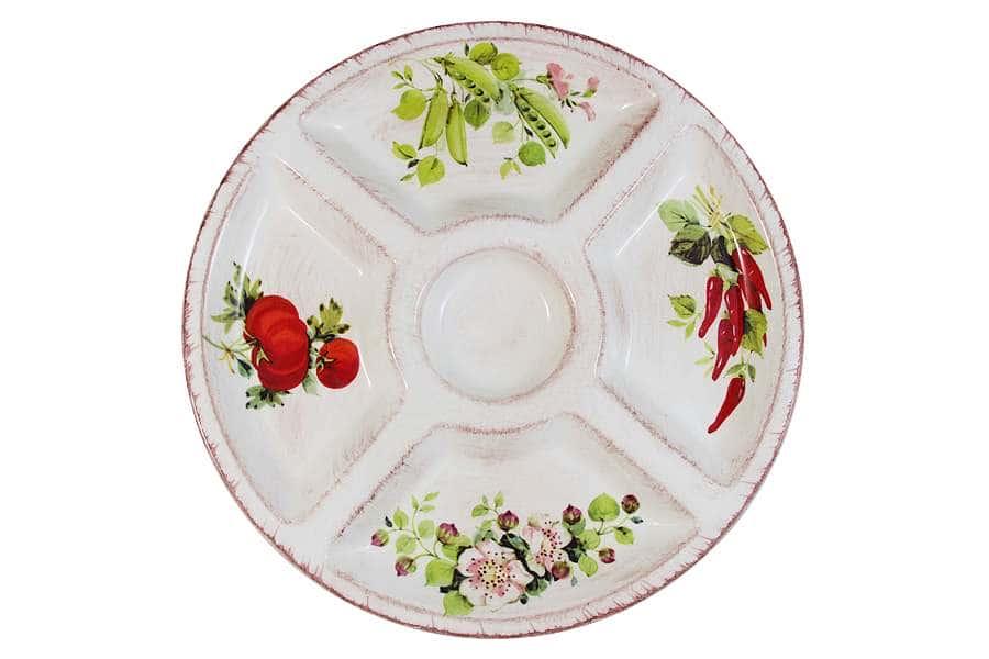 Менажница круглая 4-х секционная Овощное ассорти