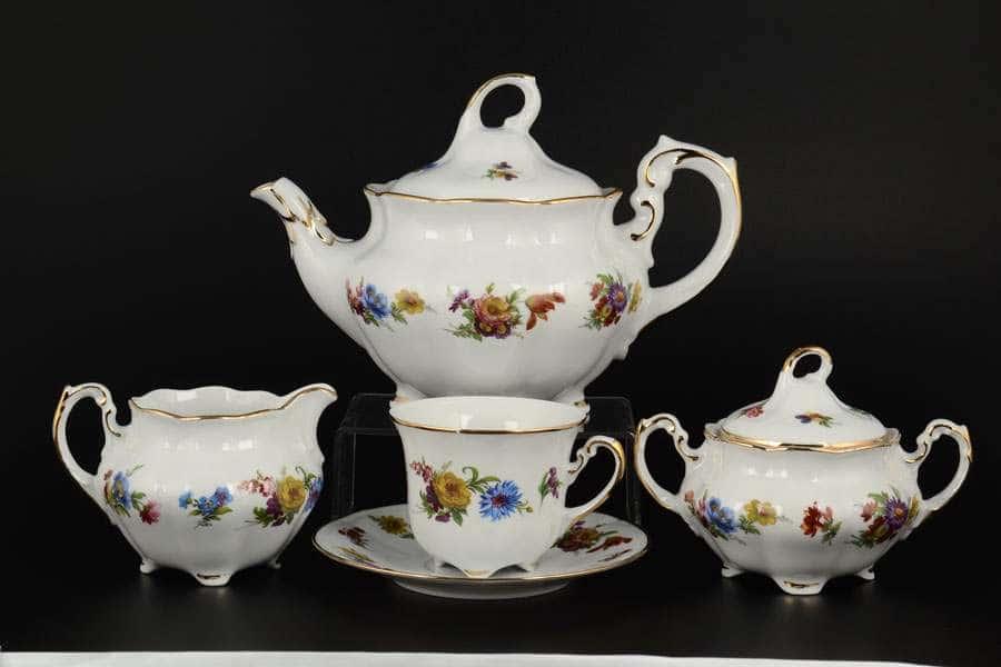 Болеро Весенний букет Чайный сервиз Royal Czech Porcelain на 6 персон 17 предметов