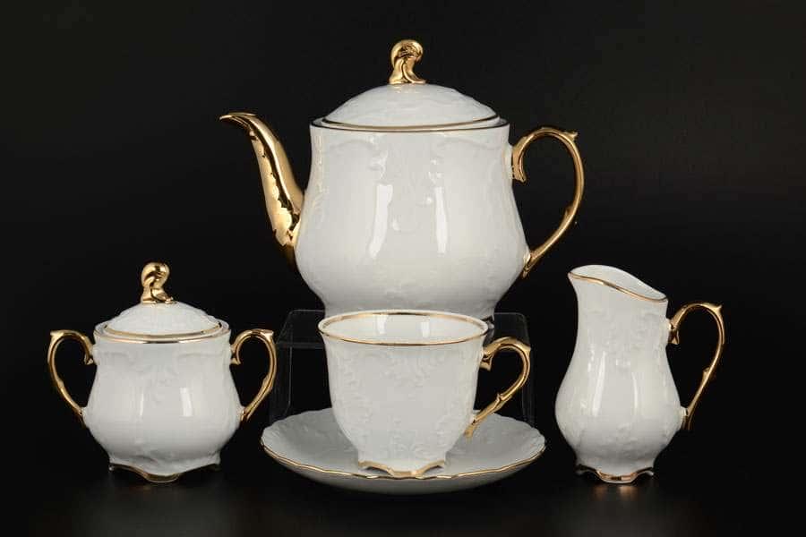 Рококо Отводка золото Чайный сервиз Royal Czech Porcelain на 6 персон 17 предметов