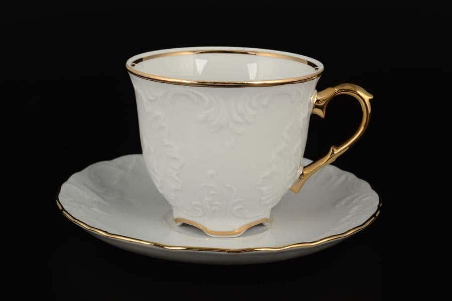 Рококо Отводка золото Набор чайных пар Royal Czech Porcelain