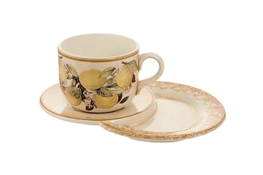 Чашка на маленьком подносе Итальянские лимоны