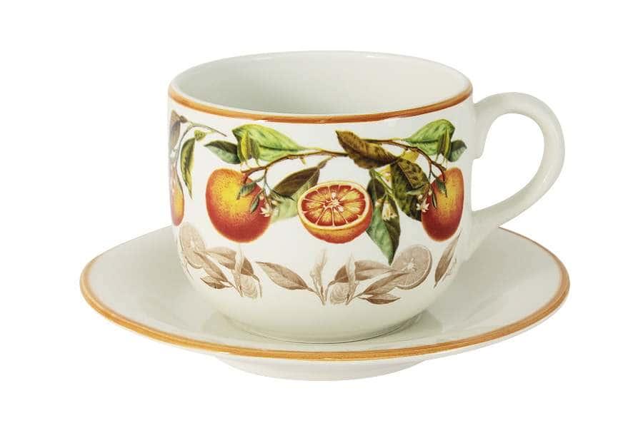 Чашка с блюдцем Апельсины
