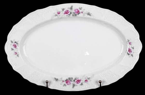 Роза серая платина Блюдо овальное 36 см Bernadotte 17407