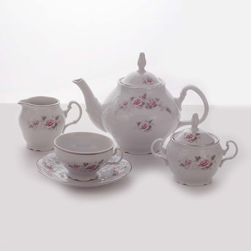 Роза серая платина Сервиз чайный Bernadotte на 6 перс.