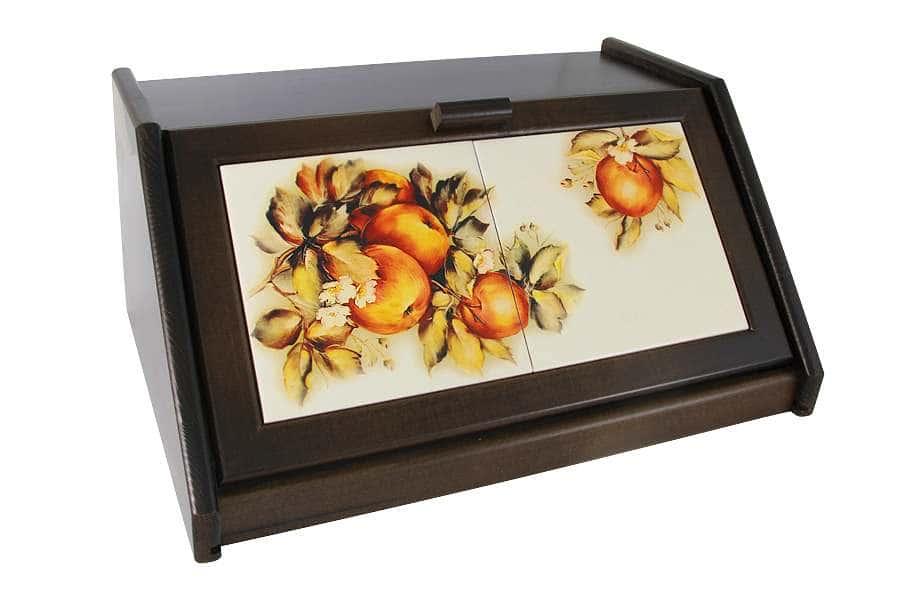 Деревянная хлебница с керамическими вставками Зимние яблоки LCS Италия