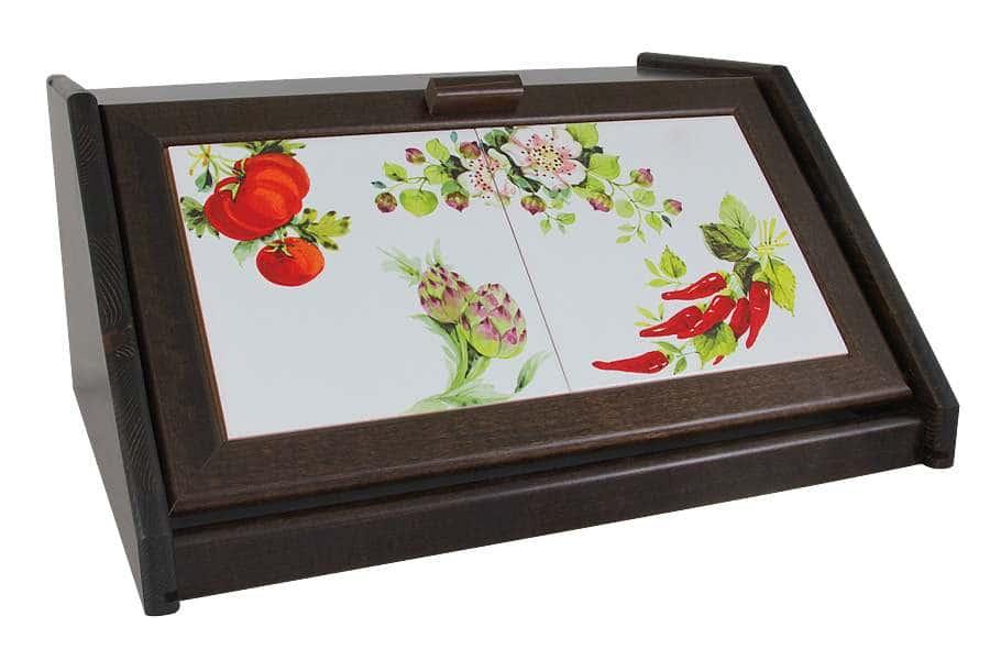 Хлебница деревянная с керамическими вставками Овощное ассорти LCS Италия