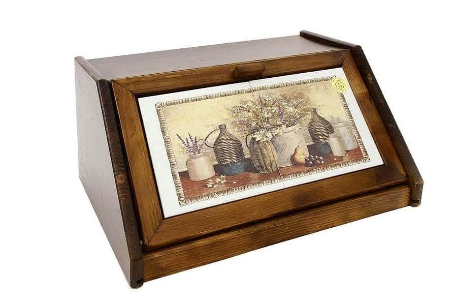 Деревянная хлебница с керамическими вставками Натюрморт LCS Италия