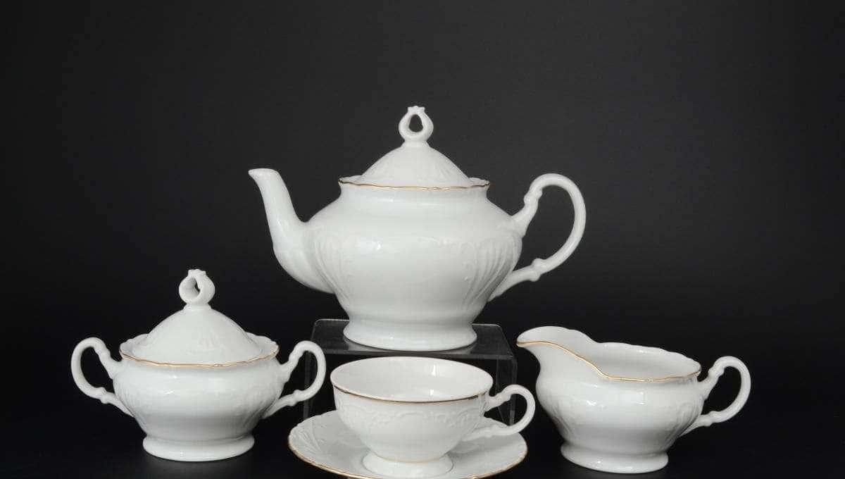 Лиана Белый узор Чайный сервиз MZ на 6 персон 17 предметов