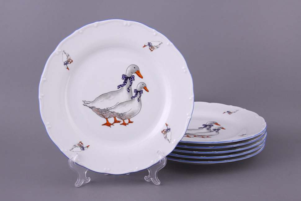 Офелия Гуси Набор тарелок из фарфора MZ 21 см