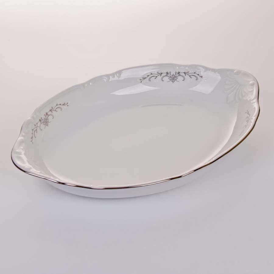 Констанция Серый орнамент Отводка платина Блюдо для хлеба Thun 33 см
