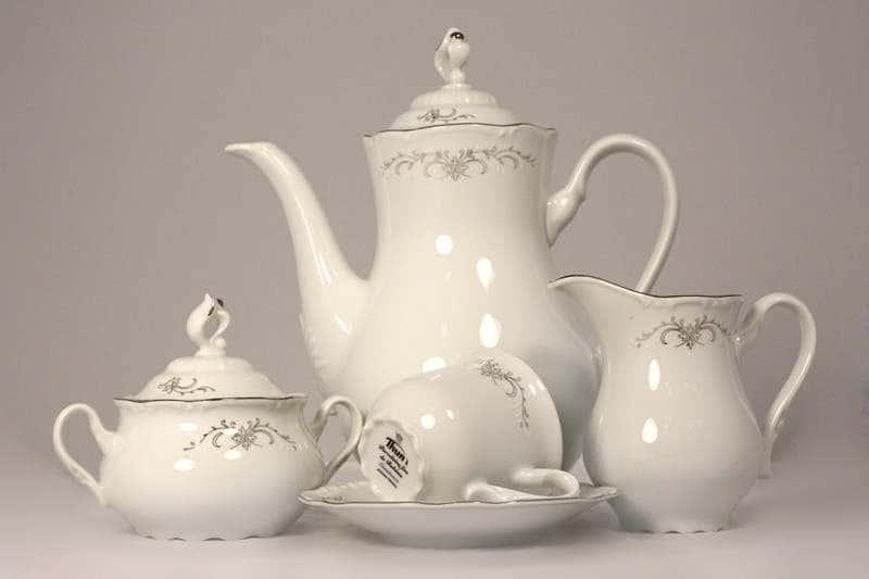 Констанция Серый орнамент Отводка платина Кофейный сервиз Thun на 6 персон 17 предметов