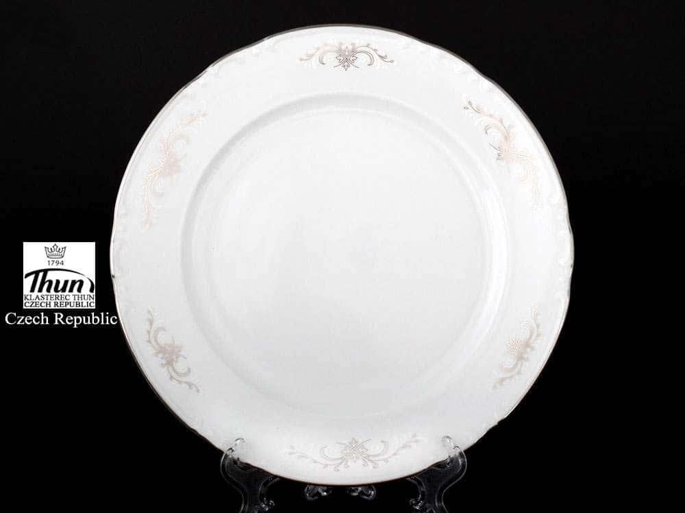 Констанция Серый орнамент Отводка платина Набор тарелок Thun 24 см