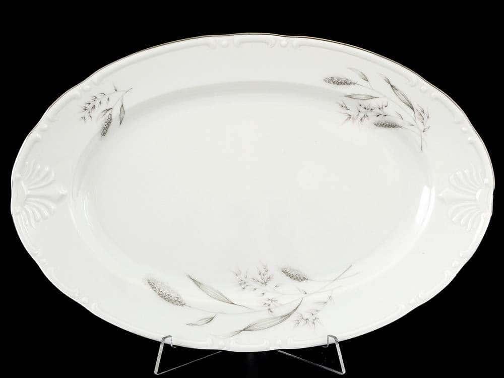 Констанция Серебряные колосья Блюдо овальное Thun 32 см