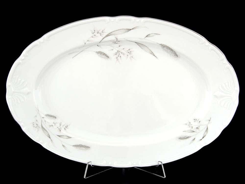 Констанция Серебряные колосья Блюдо овальное Thun 36 см