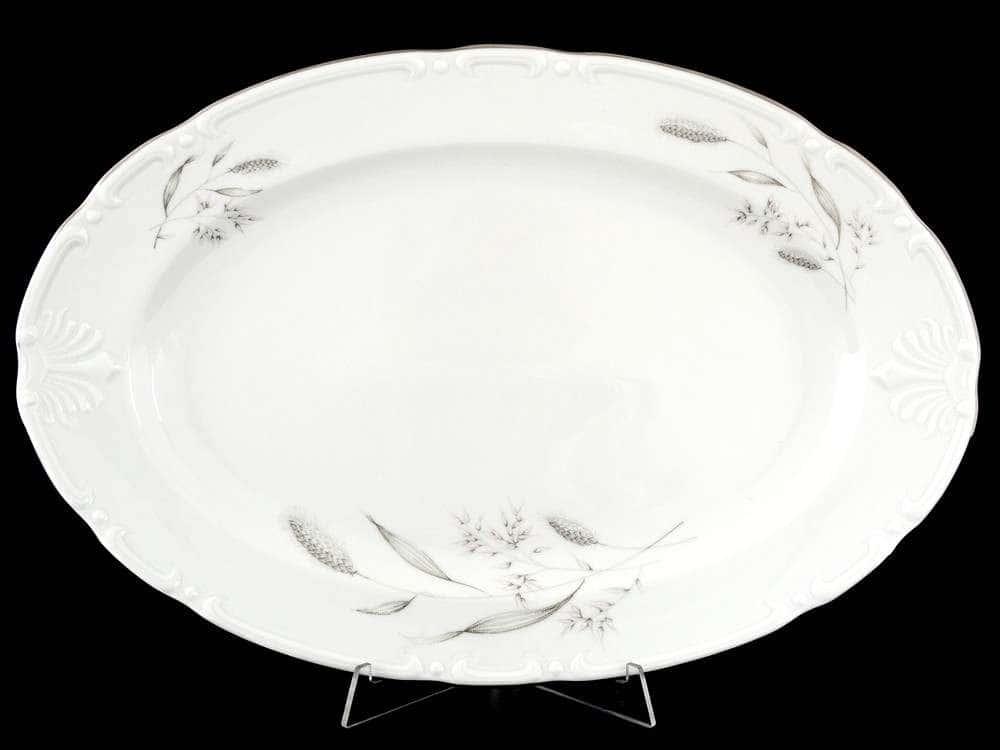 Констанция Серебряные колосья Блюдо овальное Thun 39 см