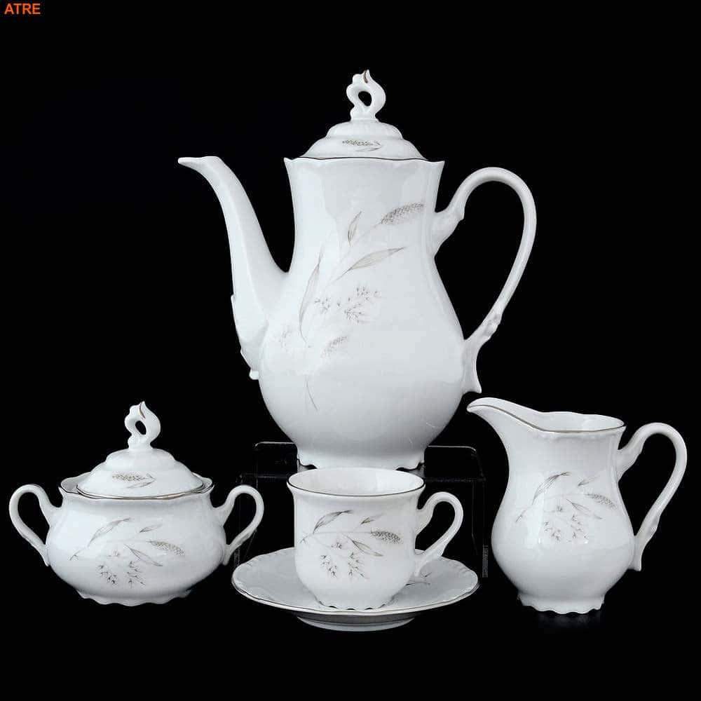 Констанция Серебряные колосья Кофейный сервиз Thun на 6 персон 17 предметов