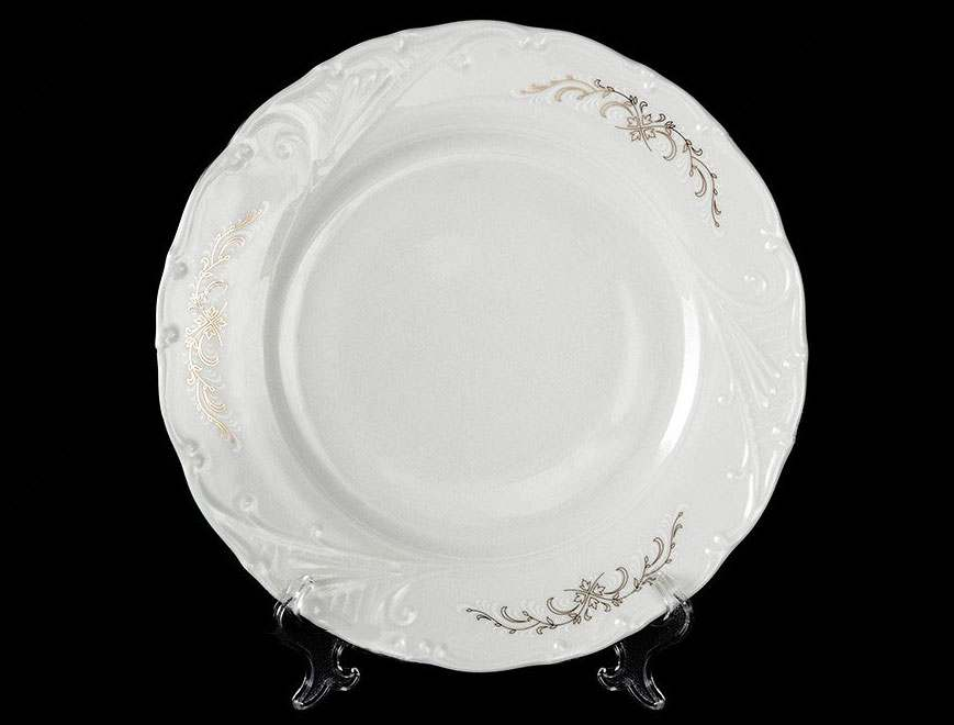 Лиана Серый орнамент отводка платина Набор тарелок MZ 25 см