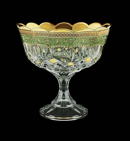 Ваза для конфет Опера Империя 18 см зеленая 29351