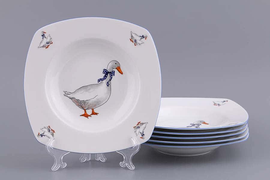 Тетра Гуси Набор тарелок из фарфора MZ 15 см