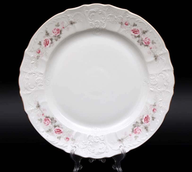 Бернадотт Серая роза золото Блюдо круглое 32 см 23715