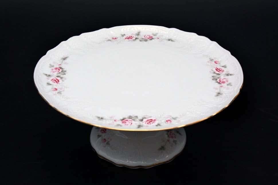Бернадотт Серая роза золото Тарелка для торта на ножке 32 см