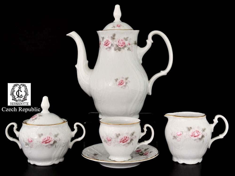 Бернадотт Серая роза золото Кофейный сервиз на 6 персон 17 предметов