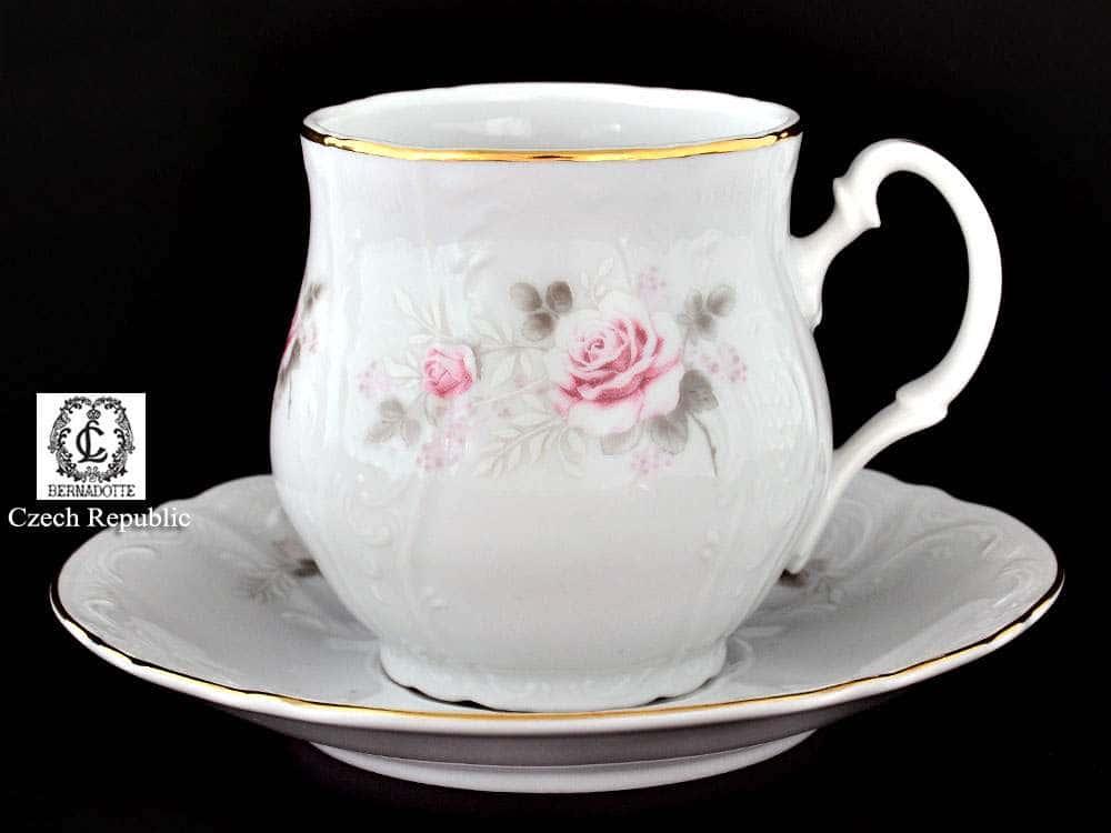 Бернадотт Серая роза золото Кружка с блюдцем Джонас 310 мл